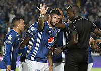 BOGOTA - COLOMBIA, 03-02-2019: Matias De Los Santos de Millonarios celebra después de anotar el primer gol de su equipo durante partido por la fecha 3 de la Liga Águila I 2019 entre Millonarios y Atlético Bucaramanga jugado en el estadio Nemesio Camacho El Campin de la ciudad de Bogotá. / Matias De Los Santos of Millonarios celebrates after scoring the first goal of his team during match for the date 3 of the Liga Aguila I 2019 between Millonarios and Atletico Bucaramanga played at the Nemesio Camacho El Campin Stadium in Bogota city. Photo: VizzorImage / Gabriel Aponte / Staff.
