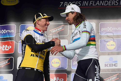 27.03.2016. Deinze, Belgium.  winner SAGAN Peter (SVK) Rider of TINKOFF and second VANMARCKE Sep (BEL) Rider of TEAM LOTTO NL - JUMBO pictured during the podium ceremony of the Flanders Classics UCI World Tour 78nd Gent-Wevelgem cycling race with start in Deinze and finish in Wevelgem