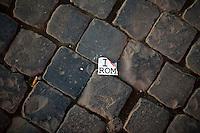 Un simbolico segnale di decadimento della citt&agrave;, tra i sanpietrini romani, la tipica,pavimentazione della gran parte del centro storico.<br /> A symbolic sign of the downfall of Rome in the street