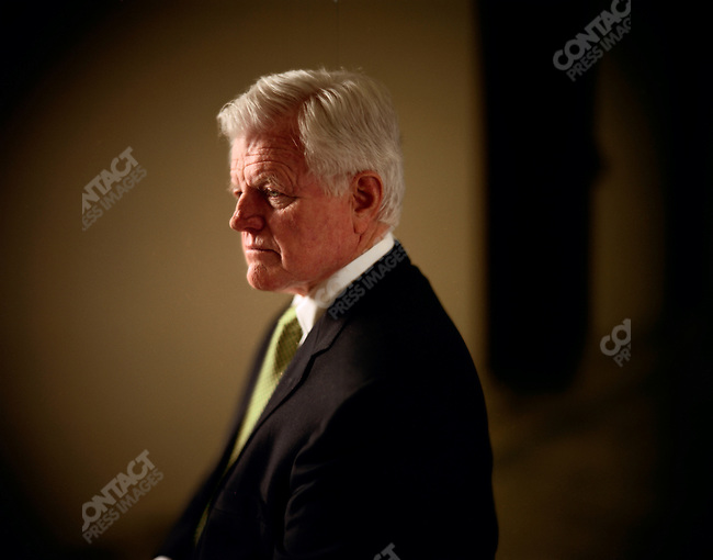 """Senator Edward """"Ted"""" Kennedy, in the hallway in front of his Senate office, Washington D.C., USA, March 17, 2006"""