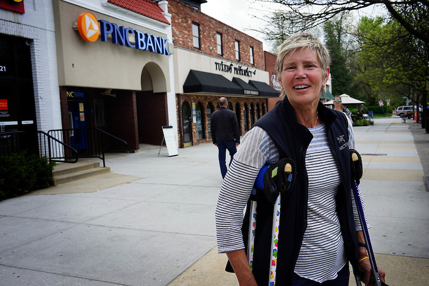 Lindy Lord, 68, a resident of the Roland Park neighbourhood of Baltimore that Hillary Clinton referred to in the first major speech of her candidacy for President, April 30, 2015. to go with Nick O'Malley story.  photo by Trevor Collens