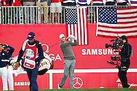 Thomas Pieters (Team Europe) on the 1st tee during the Saturday morning Foursomes at the Ryder Cup, Hazeltine national Golf Club, Chaska, Minnesota, USA.  01/10/2016<br /> Picture: Golffile | Fran Caffrey<br /> <br /> <br /> All photo usage must carry mandatory copyright credit (&copy; Golffile | Fran Caffrey)