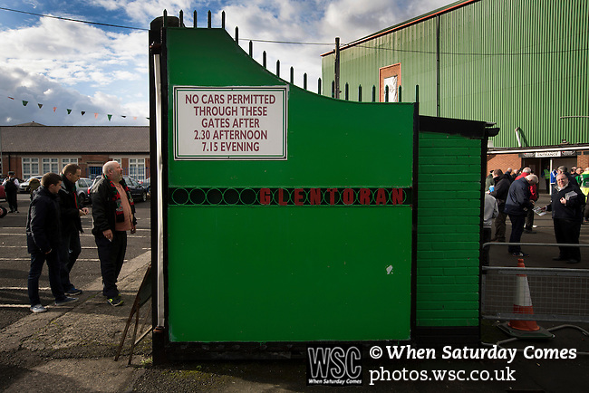 Glentoran 2 Cliftonville 1, 22/10/2016. The Oval, NIFL Premiership. Home supporters queueing at the turnstiles at The Oval, Belfast before Glentoran hosted city-rivals Cliftonville in an NIFL Premiership match. Glentoran, formed in 1892, have been based at The Oval since their formation and are historically one of Northern Ireland's 'big two' football clubs. They had an unprecendentally bad start to the 2016-17 league campaign, but came from behind to win this fixture 2-1, watched by a crowd of 1872. Photo by Colin McPherson.