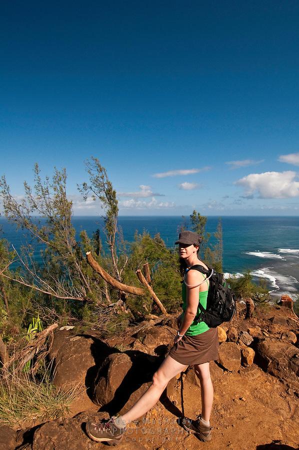 Hiking the Kalalau Trail along the Napali Coast, North Shore Kauaii, Hawaii
