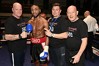 Ohio Kain (black/red shorts) defeats Sean Gorman during a Boxing Show at York Hall on 10th February 2018