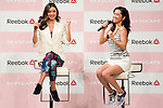 """(L to R) Australian model Miranda Kerr and the fashion model Anne Nakamura speak during the Reebok Skyscape Fashion Show on April 15, 2015, Tokyo, Japan. Miranda Kerr, who is very popular in Japan, is the Reebok global ambassador for the new footwear line """"Skyscape"""". Models Anne Nakamura, Tina Tamashiro and Funassyi, mascot of Funabashi city in Chiba, also attended the event. (Photo by Rodrigo Reyes Marin/AFLO)"""