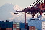 Seattle; Container Ship; Mount Rainier; Container Cranes; Elliott Bay; Puget Sound; Washington State,