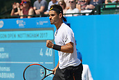 June 17th 2017, Nottingham, England; ATP Aegon Nottingham Open Tennis Tournament day 6;  Fist pump from Thomas Fabbiano of Italy as he wins the first set in the semi final against Sam Groth of Australia