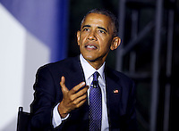 United States President Barack Obama participates at a panel discussion on climate change with Leonardo DiCaprio  (unseen) and Dr. Katharine Hayhoe (unseen),  as part of the White House South by South Lawn (SXSL) event about the importance of protecting the one planet we&rsquo;ve got for future generations, on the South Lawn of the White House, Washington DC, October 3, 2016. <br /> Credit: Aude Guerrucci / Pool via CNP /MediaPunch
