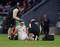 England's Tom Curry receives treatment<br /> <br /> Photographer Bob Bradford/CameraSport<br /> <br /> Quilter Internationals - England v South Africa - Saturday 3rd November 2018 - Twickenham Stadium - London<br /> <br /> World Copyright © 2018 CameraSport. All rights reserved. 43 Linden Ave. Countesthorpe. Leicester. England. LE8 5PG - Tel: +44 (0) 116 277 4147 - admin@camerasport.com - www.camerasport.com
