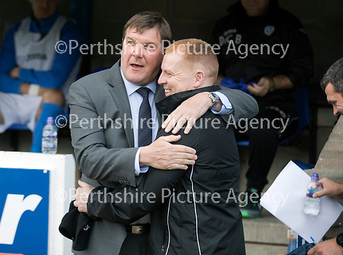 St Johnstone v Hibs &hellip;09.09.17&hellip; McDiarmid Park&hellip; SPFL<br />Tommy Wright embraces his friend and todays opposistion manager Neil Lennon<br />Picture by Graeme Hart.<br />Copyright Perthshire Picture Agency<br />Tel: 01738 623350  Mobile: 07990 594431