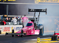 Feb 11, 2019; Pomona, CA, USA; NHRA top fuel driver Leah Pritchett during the Winternationals at Auto Club Raceway at Pomona. Mandatory Credit: Mark J. Rebilas-USA TODAY Sports
