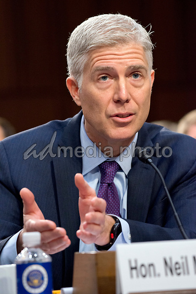 Judge Neil Gorsuch testifies before the United States Senate Judiciary Committee on his nomination as Associate Justice of the US Supreme Court to replace the late Justice Antonin Scalia on Capitol Hill in Washington, DC on Tuesday, March 21, 2017. Photo Credit: Ron Sachs/CNP/AdMedia