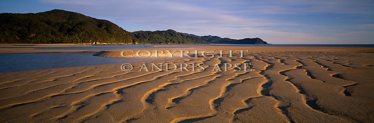 Sand patterns at Awaroa Bay. Able Tasman National Park. Tasman Region. New Zealand.