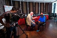 Picture By Allan McKenzie/SWpix.com - 05/04/18 - Cricket - Cheteshwar Pujara Press Conference - Aagrah Leeds, Leeds, England - Cheteshwar Pujara is interviewed at the Aagrah Leeds.