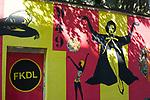 "Audrey Hepburn mural ""Breakfast at Ixelles"" on the street where she was born, Rue Keyenveld, Ixelles, Brussels, Belgium"