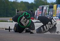 Aug 19, 2016; Brainerd, MN, USA; NHRA top fuel driver Richie Crampton during qualifying for the Lucas Oil Nationals at Brainerd International Raceway. Mandatory Credit: Mark J. Rebilas-USA TODAY Sports