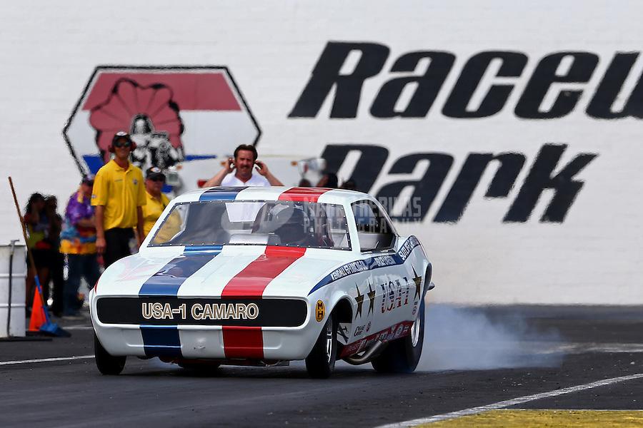 Jun. 2, 2013; Englishtown, NJ, USA: NHRA nostalgia funny car driver Bruce Larson during the Summer Nationals at Raceway Park. Mandatory Credit: Mark J. Rebilas-