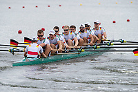 Glasgow, Scotland, &ldquo;2nd August 2018&rdquo;, Germany&rsquo;s Men&rsquo;s Eight, move awy from the start in their heat, at the European Games, Rowing, Strathclyde Park, North Lanarkshire, &copy; Peter SPURRIER/Alamy Live News. Crew, GER M8+, Bow, Johannes WEISSENFELD, Felix WIMBERGER, Maximilian PLANER, Torben JOHANNESEN, Jakob SCHNEIDER, Malte JAKSCHIK, Richard SCHMIDT, <br /> Hannes OCIK and cox Martin SAUER,