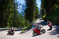 Motorcycles on The Stelvio Pass, Passo dello Stelvio, Stilfser Joch, route from Bormio to Trafio in The Alps, Italy