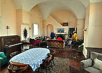 COPY BY TOM BEDFORD<br /> Pictured: Interior view of the lounge area<br /> Re: For sale, an island fortress off the Pembrokeshire Coast in west Wales, UK.<br /> Thorne Island is located off the Pembrokeshire coast near the entrance to Milford Haven and about quarter of a miles offshore from the sandy beech of West Angle Bay.<br /> The accommodation is contained primarily on the ground floor level around a large courtyard and had more recently been two bars, cloakrooms, games room, dining room, kitchen, nine bedrooms, a shower room, two bathrooms, a sauna, two self-catering kitchen, a laundry and other ancillary accommodation.
