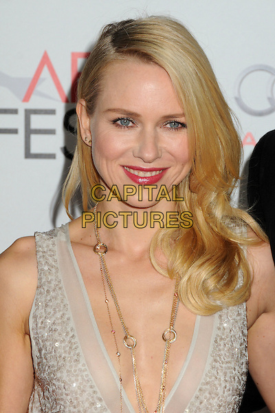 "Naomi Watts.AFI Fest 2011 Opening Night Gala Premiere of ""J. Edgar"" held at Grauman's Chinese Theatre, Hollywood, California, USA..November 3rd, 2011.headshot portrait cream white sequins sequined gold necklace plunging neckline .CAP/ADM/BP.©Byron Purvis/AdMedia/Capital Pictures."