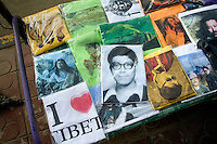 "T-shirts for sale by the roadside in Xiahe, Gansu, China, display religious imagery and the slogan ""I love Tibet"" or ""I heart Tibet.""  Xiahe, home of the Labrang Monastery, is an important site for Tibetan Buddhists.  The population of the town is divided between ethnic Tibetans, Muslims, and Han Chinese."