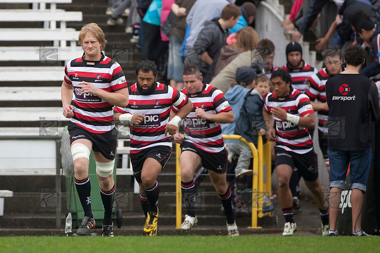 Jamie Chipman leads his team out for the ITM Cup round 6 rugby game between Counties Manukau Steelers and Waikato, played at Bayer Growers Stadium pukekohe on Sunday August 7th 2011. Waikato won 22 - 15.
