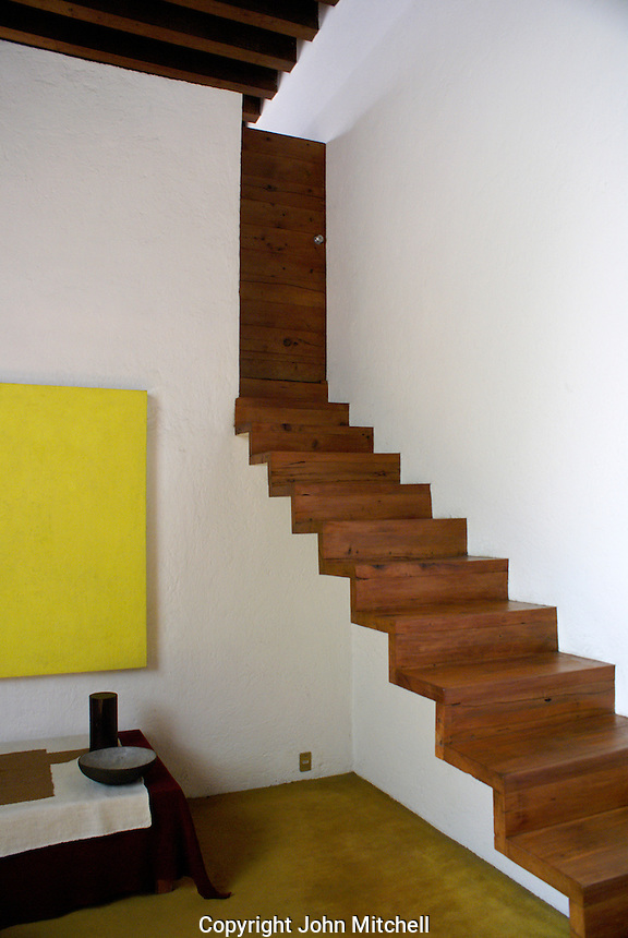 Cantilevered staircase in the Casa Luis Barragan in Mexico City. The Casa Luis Barragan was designated a UNESCO World heritage site in 2004.