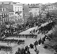 Parade, Pennsylvania Avenue, Lincoln's Time. Washington, DC, ca. 1865. (Commission of Fine Arts)<br /> Exact Date Shot Unknown<br /> NARA FILE #:  066-G-22J-1<br /> WAR & CONFLICT BOOK #:  158