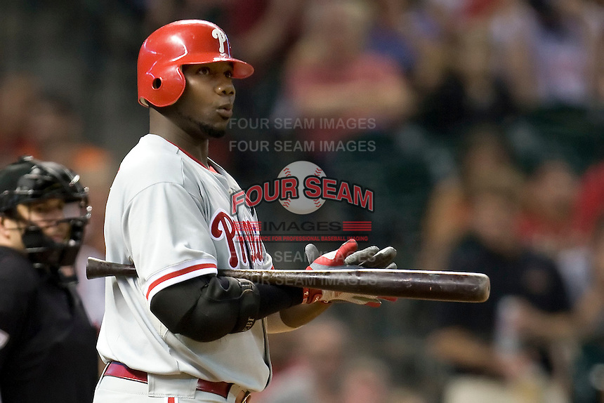 Philadelphia Phillies first baseman Ryan Howard #6 during the Major League Baseball game against the Houston Astros at Minute Maid Park in Houston, Texas on September 13, 2011. Houston defeated Philadelphia 5-2.  (Andrew Woolley/Four Seam Images)