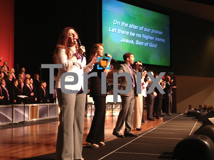3/31/13 The praise team leads worship at Prestonwood north campus on Easter morning.