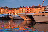 Yachts in harbor at sunset, Saint Tropez, France
