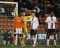Blackpool's Joe Dodoo closely marked by Charlton Athletic's goalkeeper Jed Steer and Toby Stevenson as they wait for a corner kick<br /> <br /> Photographer Stephen White/CameraSport<br /> <br /> The EFL Sky Bet League One - Blackpool v Charlton Athletic - Saturday 8th December 2018 - Bloomfield Road - Blackpool<br /> <br /> World Copyright &copy; 2018 CameraSport. All rights reserved. 43 Linden Ave. Countesthorpe. Leicester. England. LE8 5PG - Tel: +44 (0) 116 277 4147 - admin@camerasport.com - www.camerasport.com