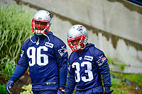 June 6, 2017: New England Patriots defenseive lineman Darlus Kilgo (96) and defensive back Will Likely (33) walk to practice in the rain at the New England Patriots mini camp held on the practice field at Gillette Stadium, in Foxborough, Massachusetts. Eric Canha/CSM
