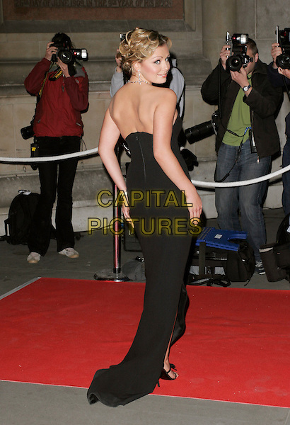 KATHERINE JENKINS .UK Launch of the Montblanc Fine Diamond Jewellery Collection, Victoria & Albert Museum, London, England..April 24th, 2007.V&A mont blanc full length black strapless dress back behind rear looking over shoulder .CAP/AH.©Adam Houghton/Capital Pictures