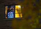 Neon sign in a Keenan Hall dorm room..Photo by Matt Cashore/University of Notre Dame