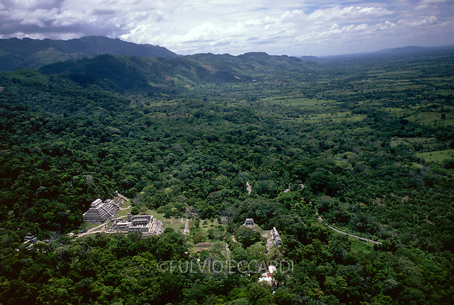 Mexico, Chiapas, Palenque, arqueological sites, arqueology, maya, pyramid, architecture, foliage, trees, aerial