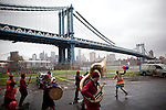 BROOKLYN -- APRIL 16, 2011: Jessi Arrington (R) leads other Studiomates and friends in their rainbow parade on April 16, 2011 in Dumbo, Brooklyn.   (PHOTOGRAPH BY MICHAEL NAGLE)