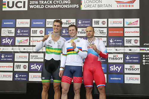 05.03.2016. Lee Valley Velo Centre, Lnodn England. UCI Track Cycling World Championships Mens Individual Sprint Final.   Podium :  GLAETZER Matthew (AUS)silver, KENNY Jason (GBR) gold and DMITRIEV Denis (RUS) bronze