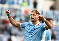 Football, Serie A: S.S. Lazio - Udinese Olympic stadium, Rome, December 1, 2019. <br /> Lazio's Ciro Immobile celebrates after scorig during the Italian Serie A football match between S.S. Lazio and Udinese at Rome's Olympic stadium, Rome on December 1, 2019.<br /> UPDATE IMAGES PRESS/Isabella Bonotto