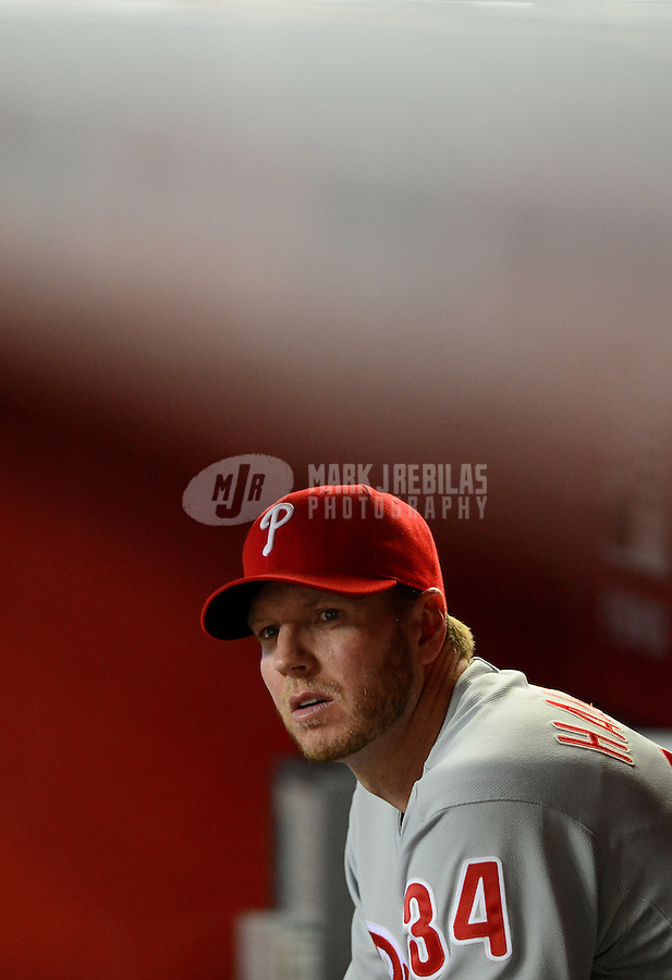 Apr. 23, 2012; Phoenix, AZ, USA; Philadelphia Phillies pitcher Roy Halladay in the dugout in the seventh inning against the Arizona Diamondbacks at Chase Field. Mandatory Credit: Mark J. Rebilas-