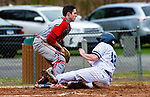 WASHINGTON,  CT-041819JS09- Shepaug's Chance Dutcher (18) comes in for the game-tying run in front of the tag by Northwestern's Trevor Grantmeyer (3) during their game Thursday at Tex Alex Field in Washington.  <br /> Jim Shannon Republican American