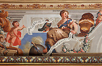 Detail of Nature, from the allegorical trompe l'oeil ceiling fresco painted by Antonio Simoes Ribeiro and Vicente Nunez, in the Black Room of the Joanina Library, or Biblioteca Joanina, a Baroque library built 1717-28 by Gaspar Ferreira, part of the University of Coimbra General Library, in Coimbra, Portugal. The Casa da Livraria was built during the reign of King John V or Joao V, and consists of the Green Room, Red Room and Black Room, with 250,000 books dating from the 16th - 18th centuries. The library is part of the Faculty of Law and the University is housed in the buildings of the Royal Palace of Coimbra. The building is classified as a national monument and UNESCO World Heritage Site. Picture by Manuel Cohen