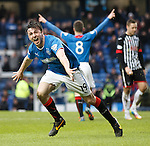 Calum Gallagher celebrates scoring his debut goal for Rangers first team.
