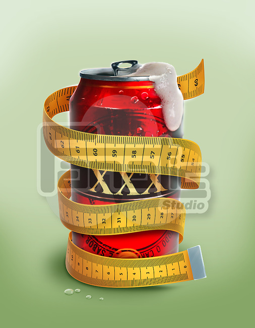 Illustrative image of beer can wrapped with measuring tape representing diet beer