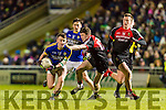 Tom O'Sullivan Kerry in action against Cillian O'Connor and Eoin O'Donoghue Mayo in the National Football league at Austin Stack Park, Tralee on Saturday night.