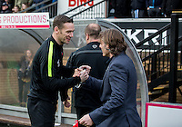 Wycombe Wanderers Manager Gareth Ainsworth welcomes Player Manager Kevin Nolan of Leyton Orient during the Sky Bet League 2 match between Wycombe Wanderers and Leyton Orient at Adams Park, High Wycombe, England on 23 January 2016. Photo by Massimo Martino / PRiME Media Images.