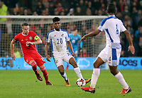 Ricardo Avila of Panama (C) and Chris Gunter of Wales (L) during the international friendly soccer match between Wales and Panama at Cardiff City Stadium, Cardiff, Wales, UK. Tuesday 14 November 2017.