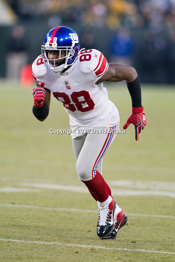 New York Giants wide receiver Hakeem Nicks (88) during an NFL divisional playoff football game against the Green Bay Packers on January 15, 2012 in Green Bay, Wisconsin. The Giants won 37-20. (AP Photo/David Stluka)